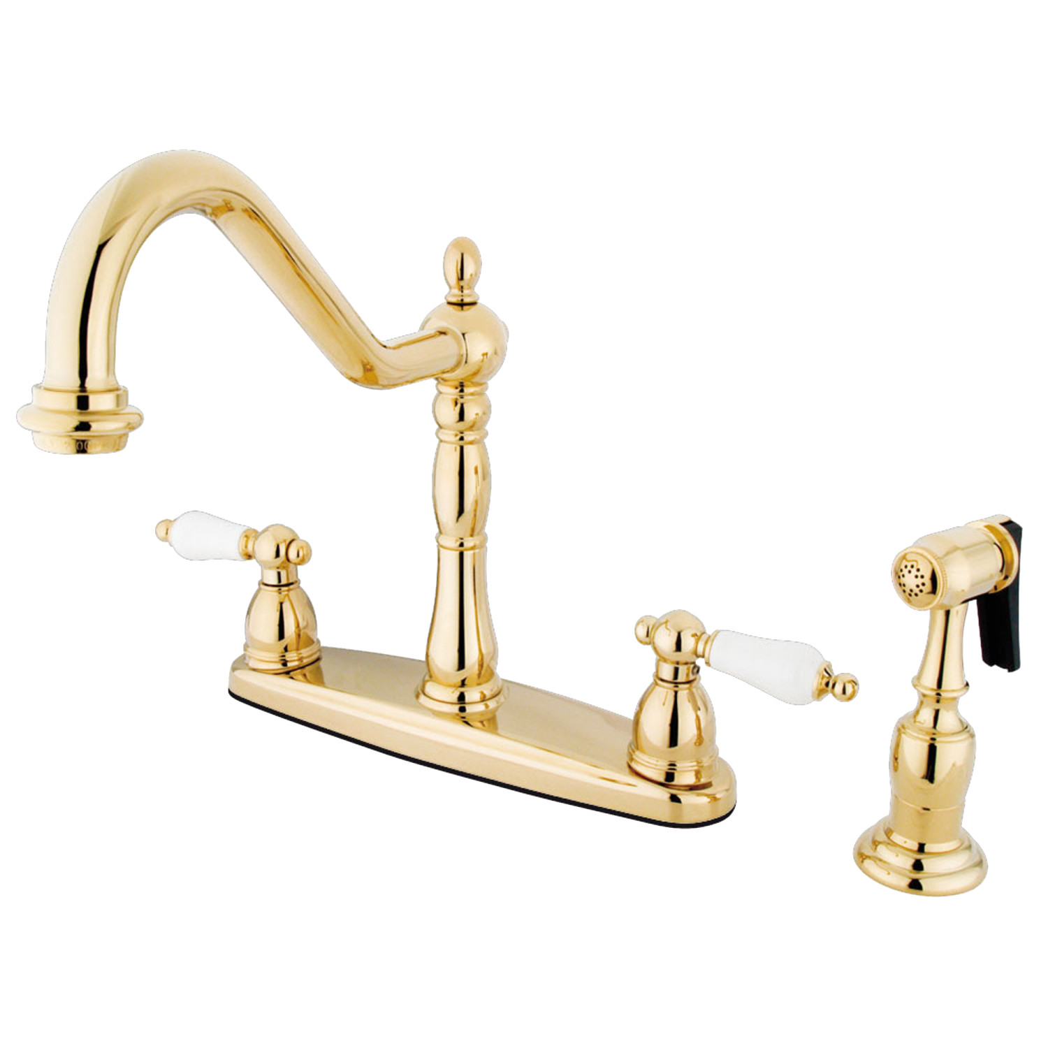 Elements of Design EB1752PLBS Centerset Kitchen Faucet, Polished Brass
