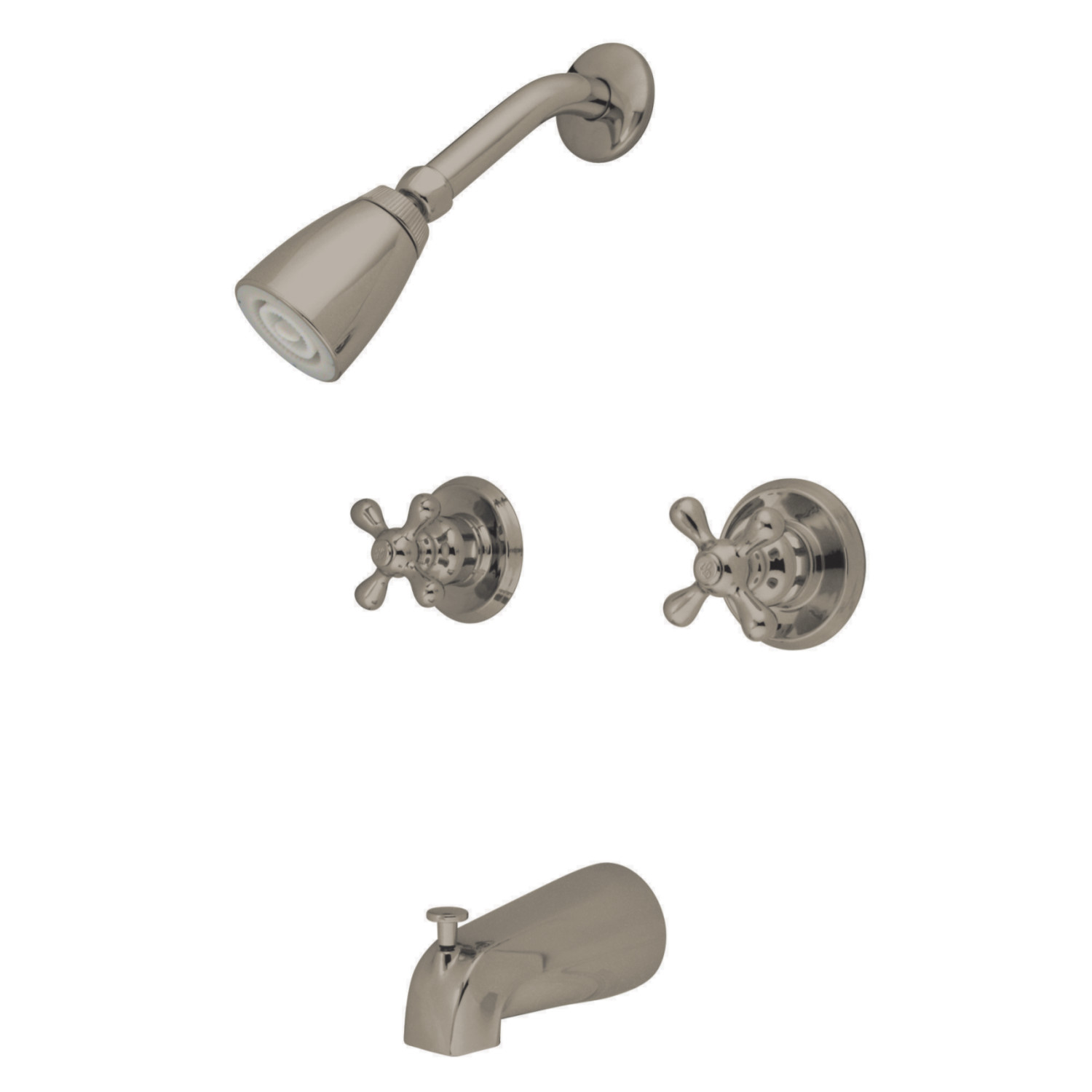 Elements Of Design Eb248ax Twin Handle Tub Shower Faucet With Decor Cross Handle Brushed Nickel