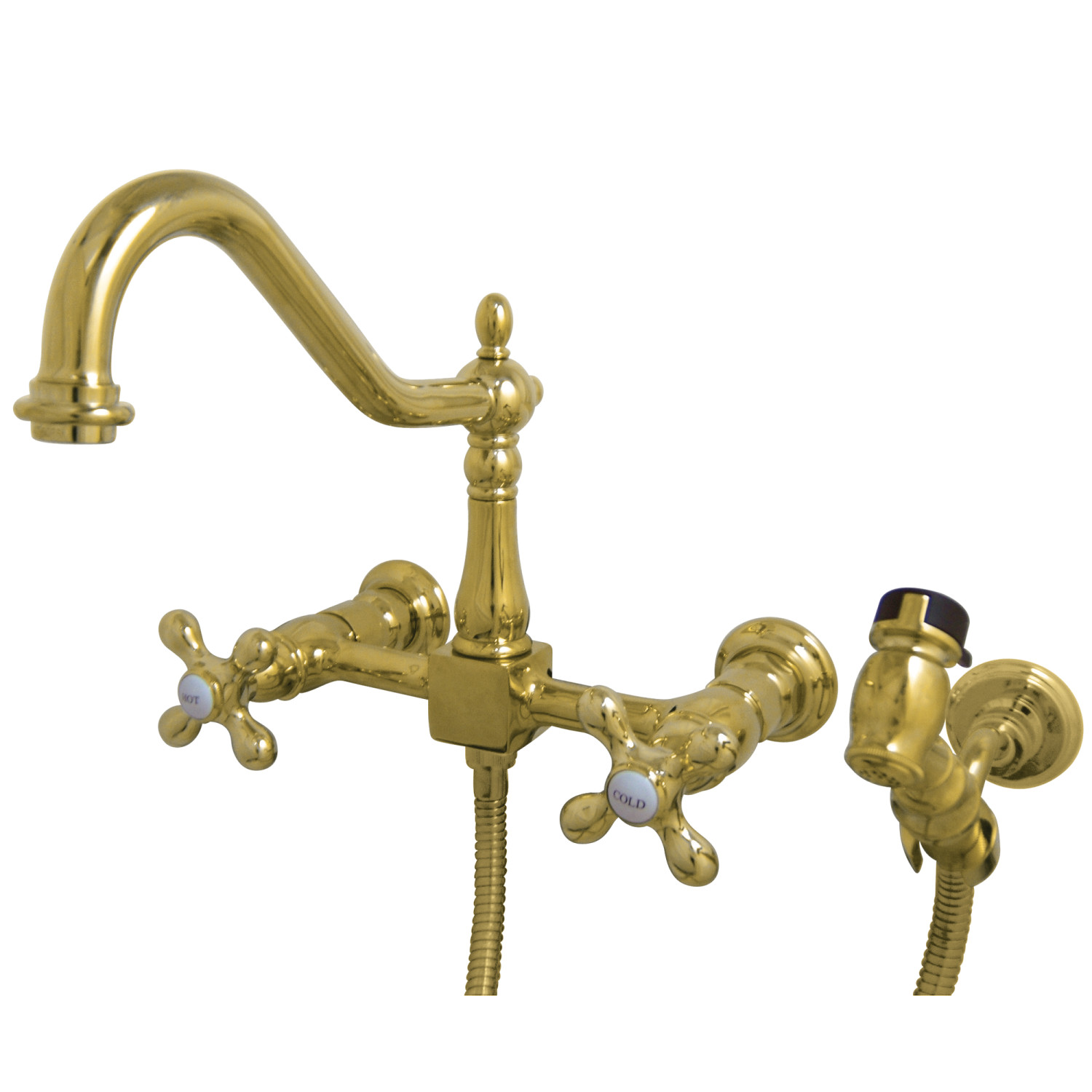 Elements of Design ES1242AXBS 8-Inch Centerset Wall Mount Kitchen Faucet  with Brass Sprayer, Polished Brass