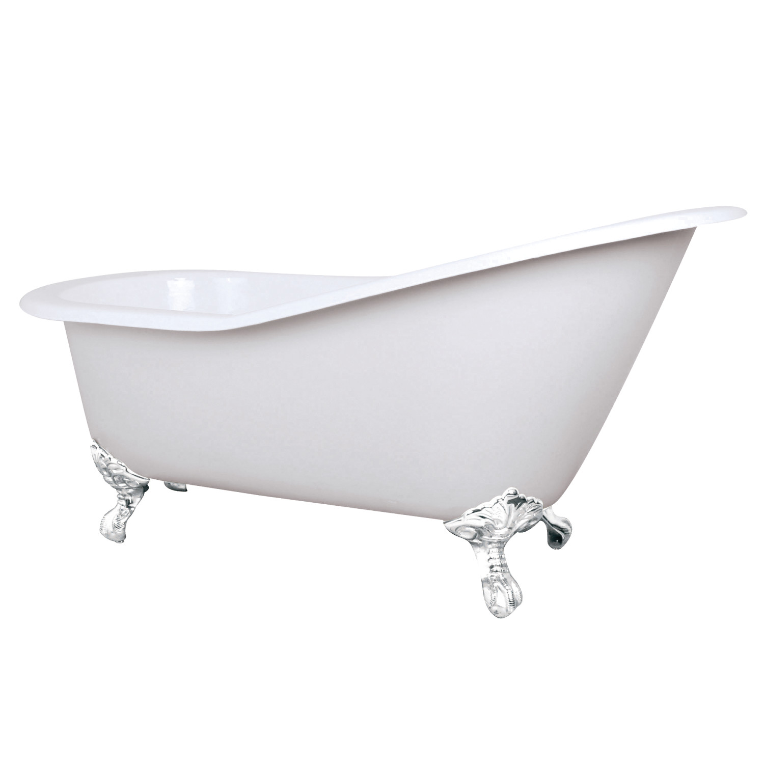 Elements Of Design Mvctnd653129bw 61 Cast Iron Slipper Clawfoot Tub With Feet No Faucet Drillings White